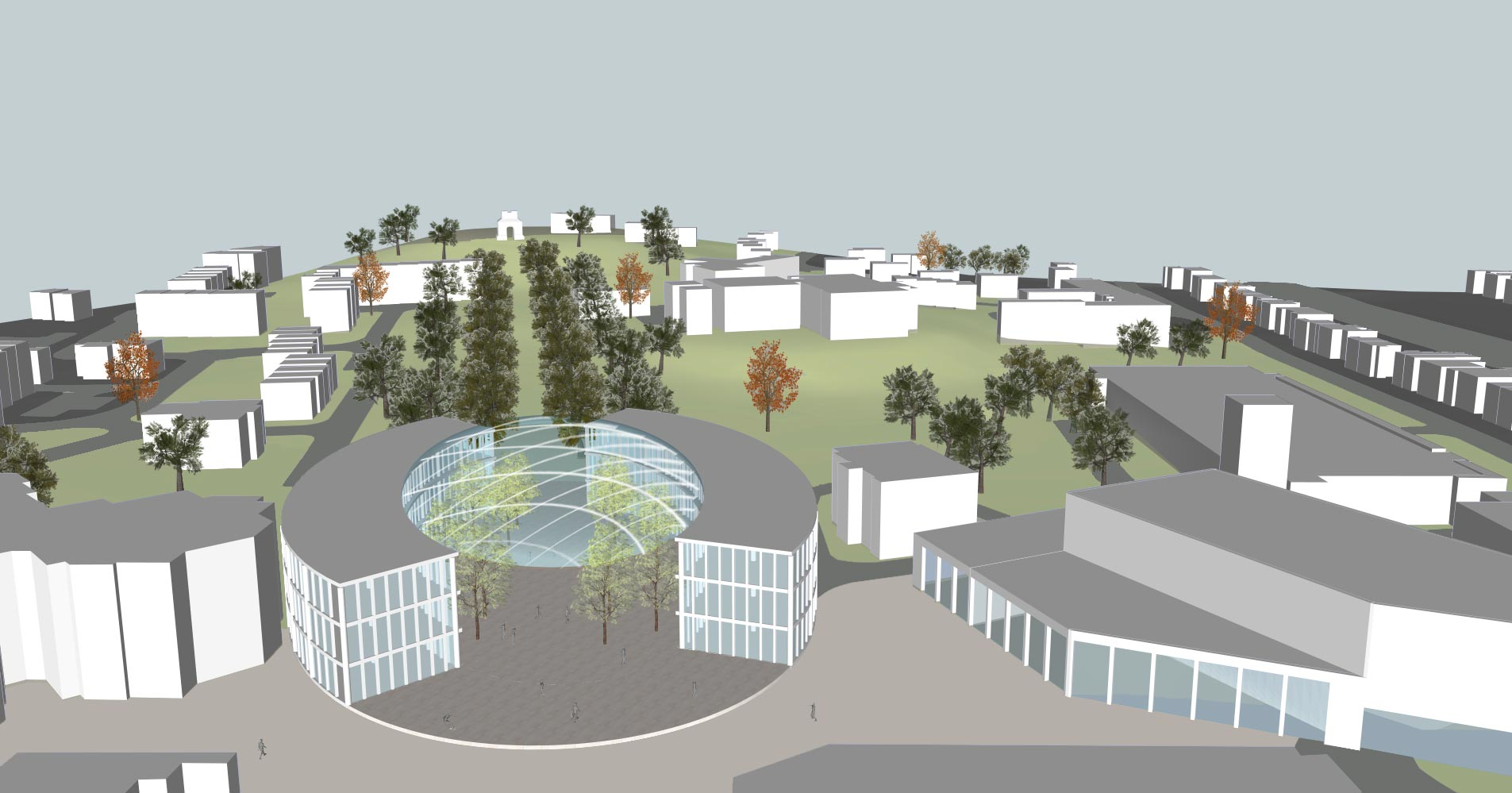 Camberley Cultural Quarter Masterplan - Front view with park