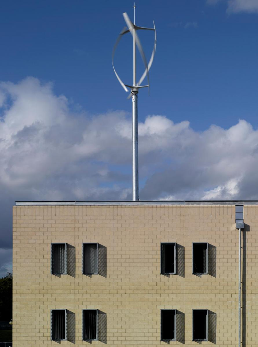 Health & Human Sciences Essex University - Exterior view with wind turbine