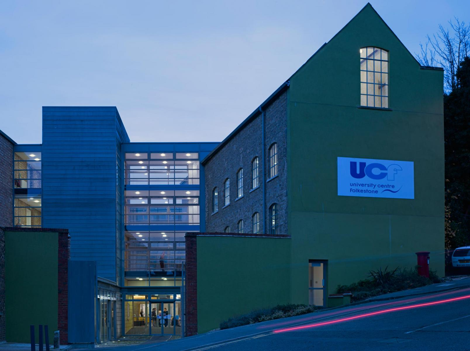University Centre, Folkestone - Exterior at Dusk