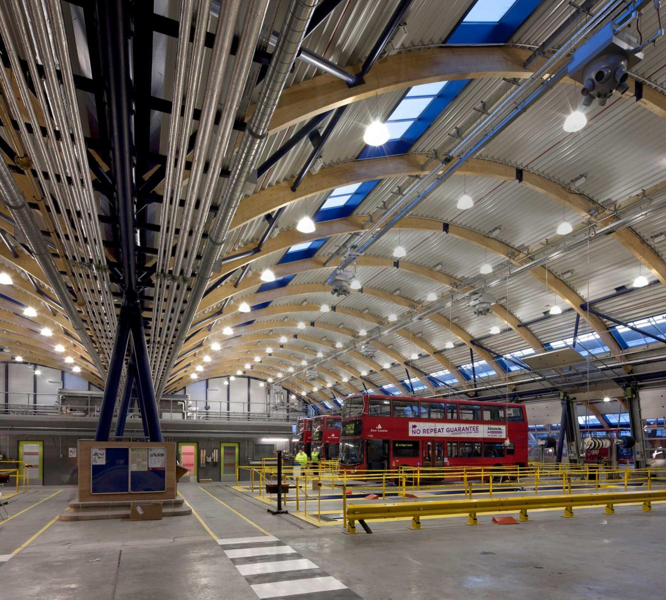 TfL West Ham Bus Garage, London - Garage workshop interior