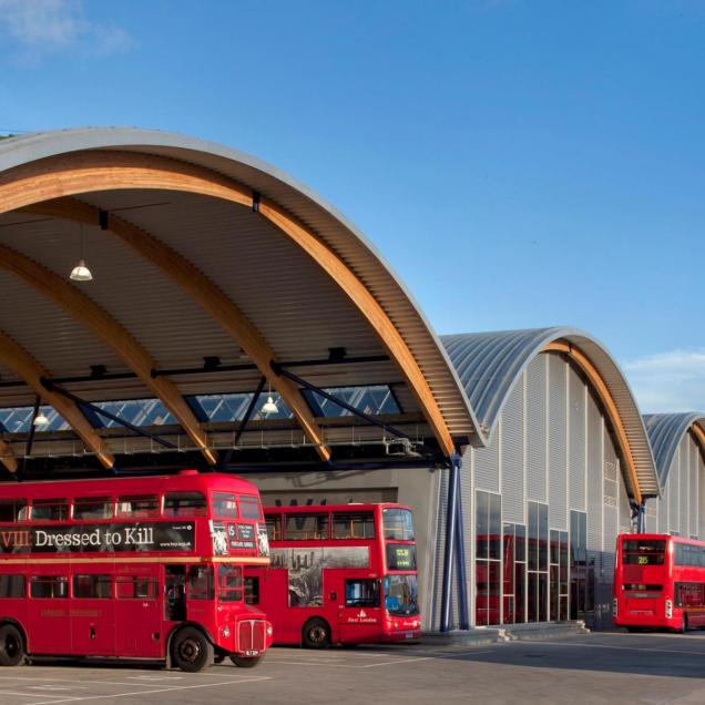 TfL West Ham Bus Garage, London - External view of bus garage